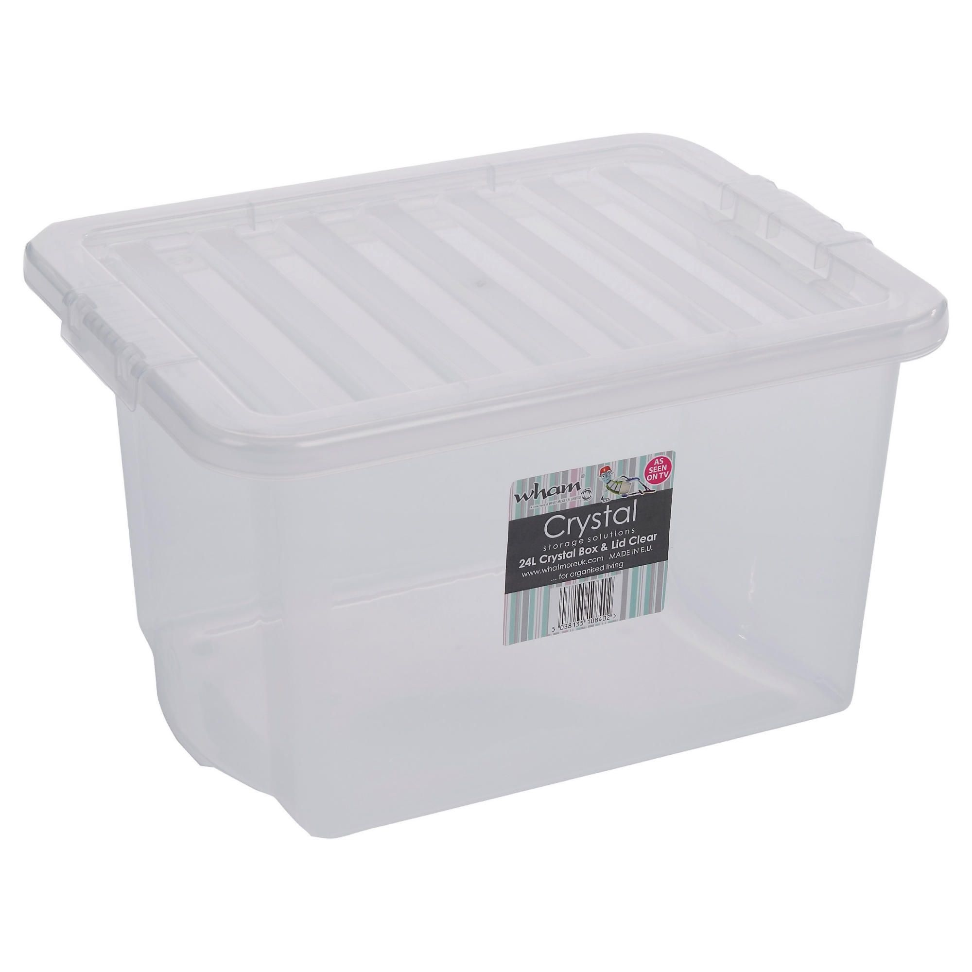Wham Crystal 24L storage box with lid, clear