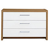 Manhattan 3 Drawer Chest, Oak Effect/ White Gloss