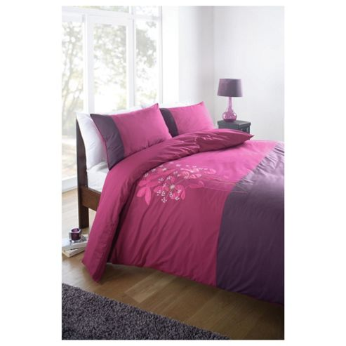 Tesco King Heidi Embroidered Duvet Cover Set, Raspberry