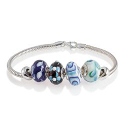 Sterling Silver Blue Glass Bead Starter Bracelet