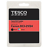 Tesco C53 Black and Colour Printer Ink Cartridge multipack (Compatible with printers using Canon BCI-24BK & C Cartridge)