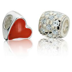 Sterling Silver Red Heart Charm 2 Pack