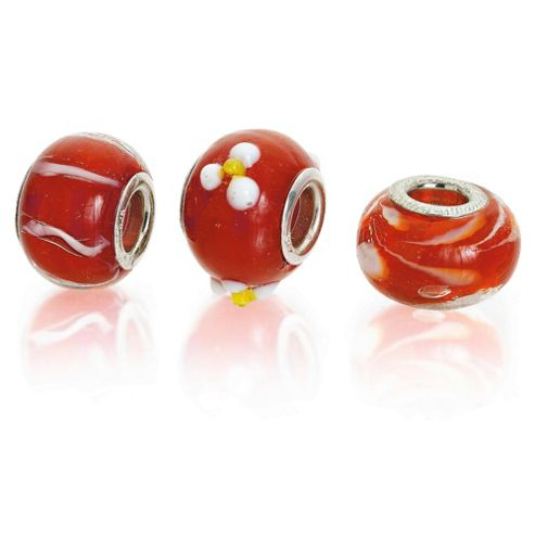 Sterling Silver Red Flower Glass Charm 3 Pack