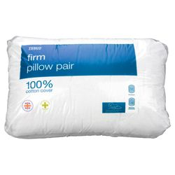 Tesco Firm Cotton Cover Pillow, 2 Pack