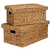 Tesco Water Hyacinth Water Hyacinth Lidded Baskets, Set of 2