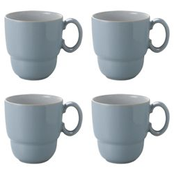 Denby Everyday Set of 4 Mugs, Cool Blue.