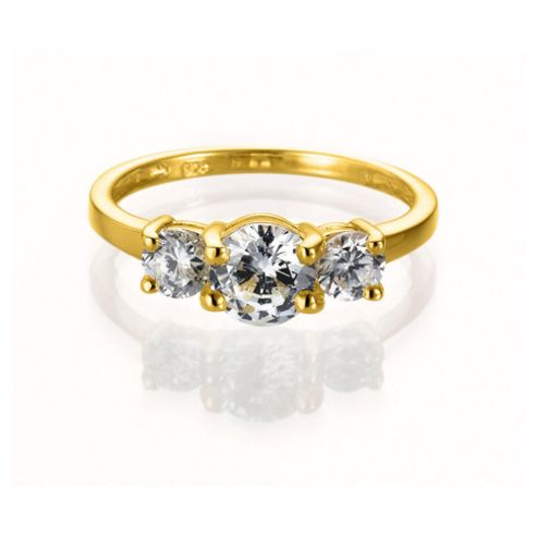 Gold Plated Silver Cubic Zirconia 3-Stone Ring, Q