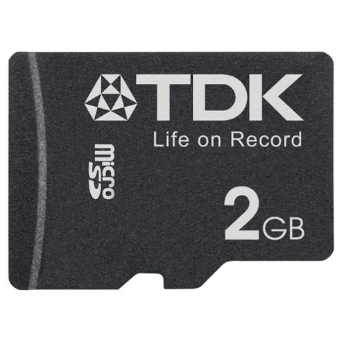 TDK 2GB Micro SD Memory Card, Black