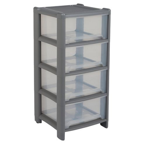 Wham 4 drawer tower, clear & silver
