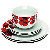 Tesco Poppy White Porcelain 12 Piece, 4 Person Dinner Set