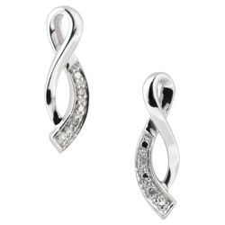 9ct White Gold Diamond 'Figure Of 8' Earrings