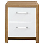 Manhattan Bedside Table, Oak Effect/White Gloss
