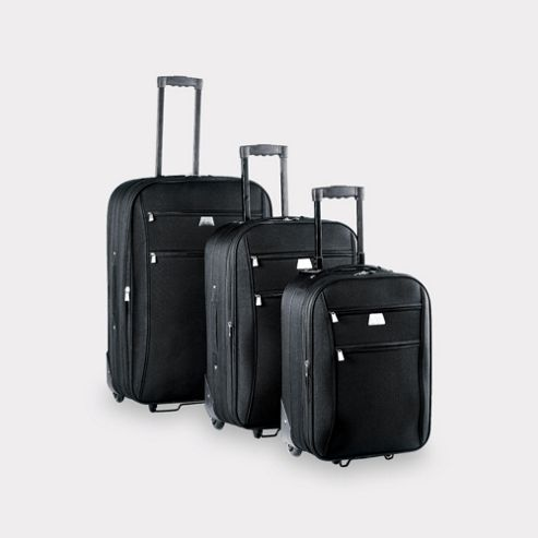 Tesco Relic 2-Wheel Suitcase, Black Set of 3