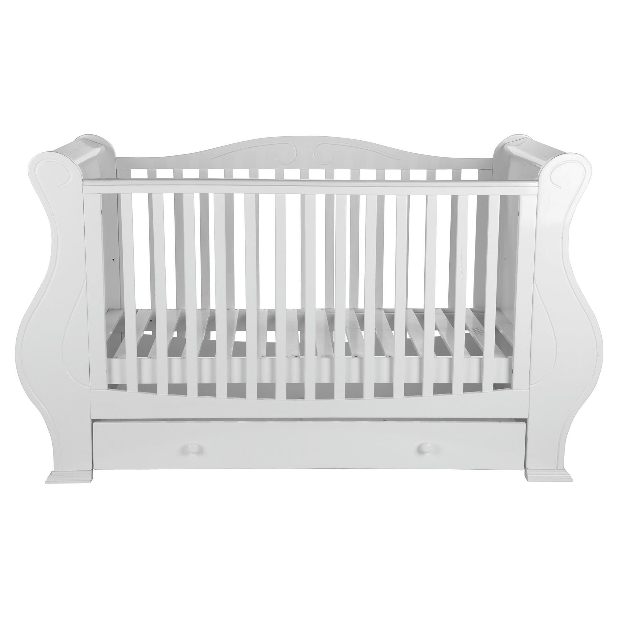 Tutti Bambini Louis Fix Side Sleigh Marie Cot Bed, White at Tesco Direct
