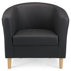 Tub Chair Leather Effect Black