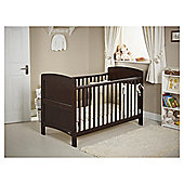 Obaby Grace 4 Piece Cot Bed Set, Dark Pine With Cream Bedding