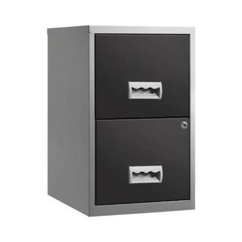 Pierre Henry A4 2 Drawer Maxi Filing Cabinet, Silver with Black Drawers