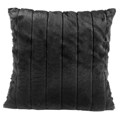 Tesco Ribbed Faux Fur Cushion Black