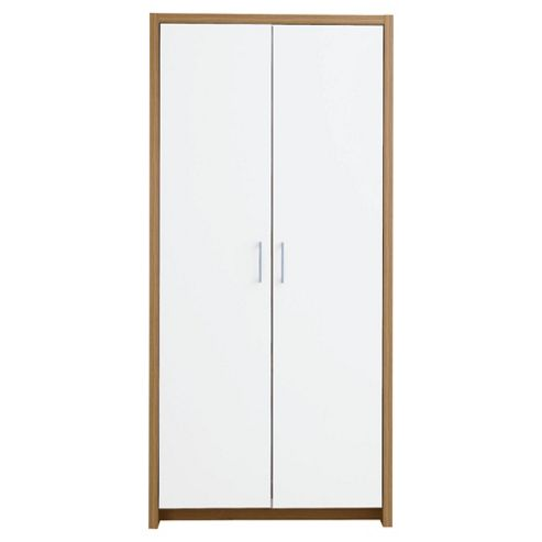 Manhattan 2 Door Wardrobe, Oak Effect/White Gloss
