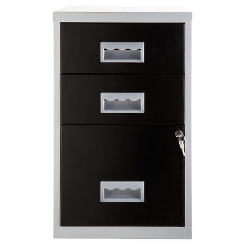 Pierre Henry A4 3 Drawer Combi Filing Cabinet, Silver with Black Drawers