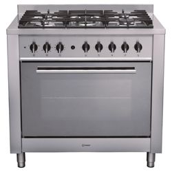 Indesit KP9F11SXG stainless steel dual fuel range cooker