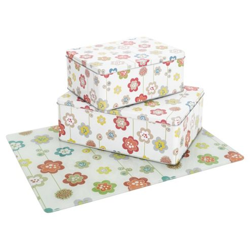 Tesco Pop Floral Set of 2 Cake Tins and Work Surface Protector Set