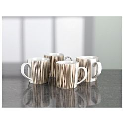 Tesco Mocha Stripe Set of 4 Mugs