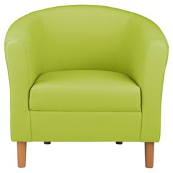 Tub Chair Leather Effect Lime Green