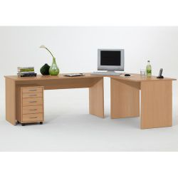 FMD Till Right Angled Writing Table in Beech or Plum Tree - Plum Tree