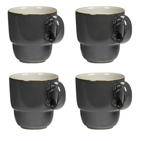 Denby Everyday Set of 4 Mugs, Black Pepper