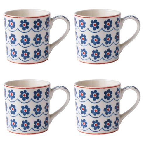 Johnson Brothers Set of 4 Blue Daisy Mugs