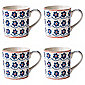 Johnson Brothers Set of 4 Blue Daisy Mugs.