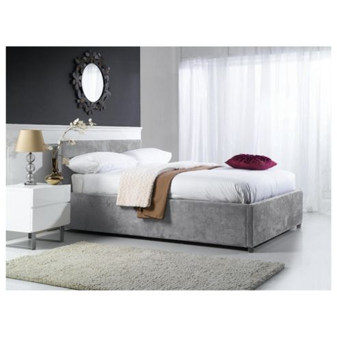 Buy Hepburn King Faux Suede Ottoman Bed Grey From Our