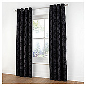 "Tesco Flock Damask Lined Curtains W163xL229cm (64x90""), Black"