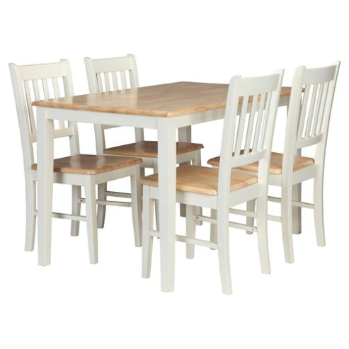 buy essen rubberwood dining table 4 chairs white natural from ou