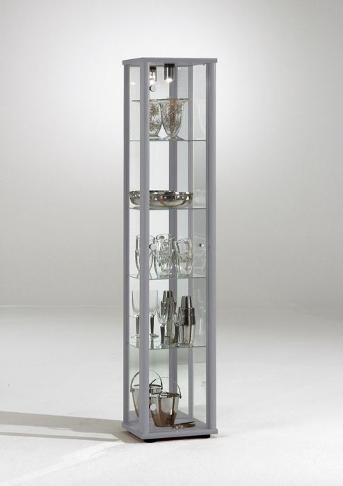 Bradley 1 Door Glass Display Cabinet Silver