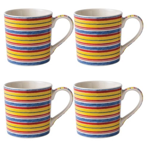 Johnson Brothers Set of 4 Yellow Stripe Mugs