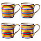 Johnson Brothers Set of 4 Yellow Stripe Mugs.