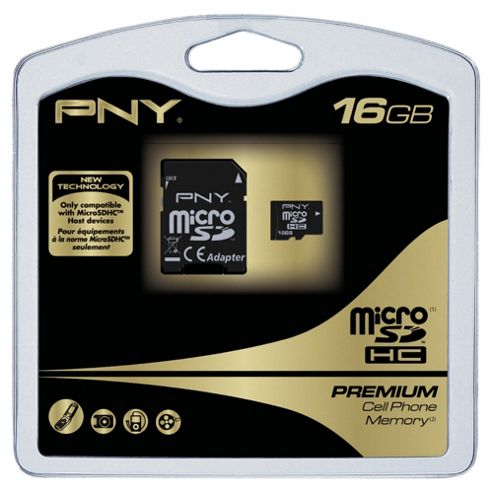 PNY 16GB Micro SDHC Memory Card (with SD Adapter)