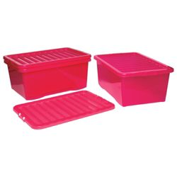 Wham Crystal 45L Underbed storage box with lid, 3 pack pink