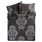 Tesco Damask Print Double Duvet Set, Black