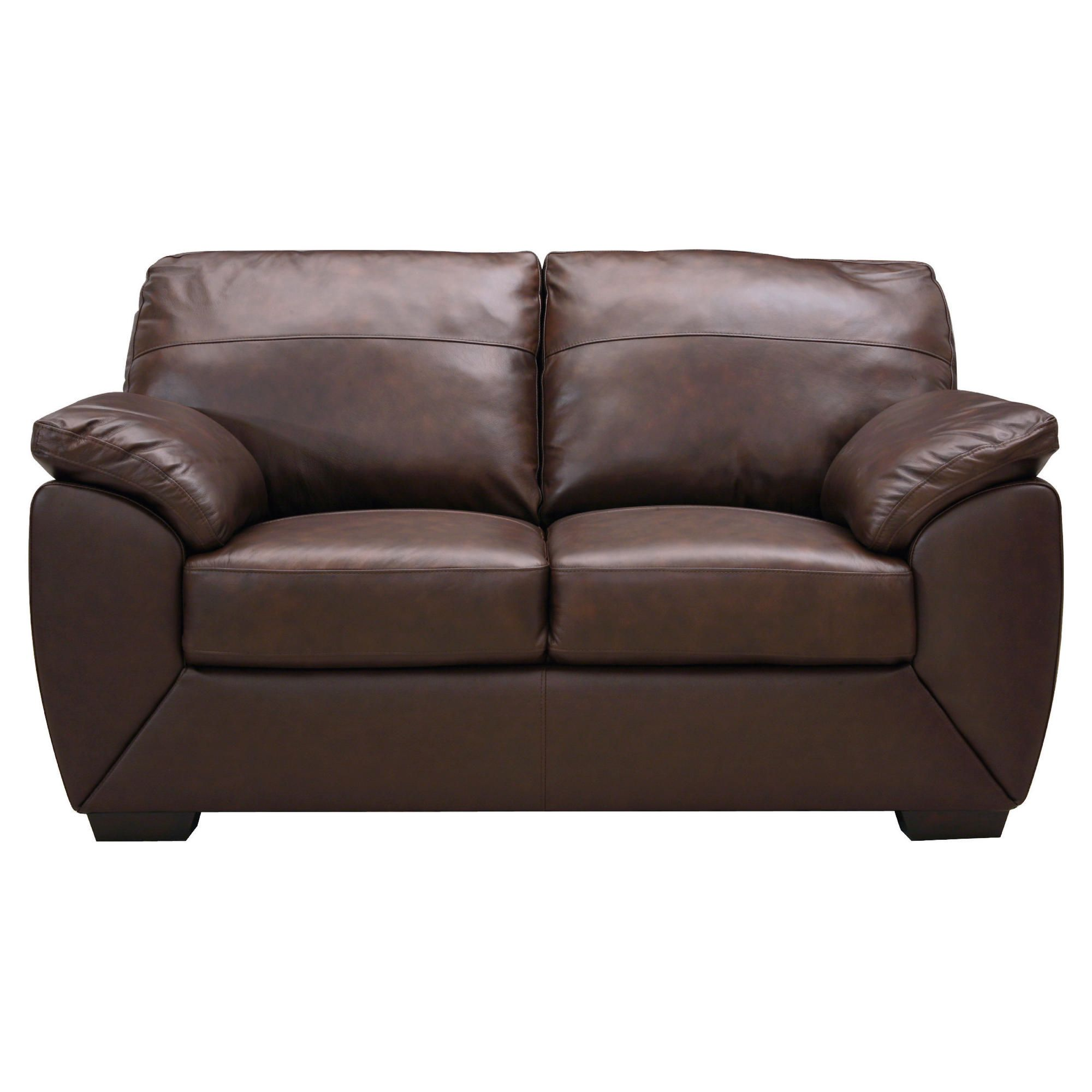 Alberta Small Leather Sofa, Chocolate at Tesco Direct
