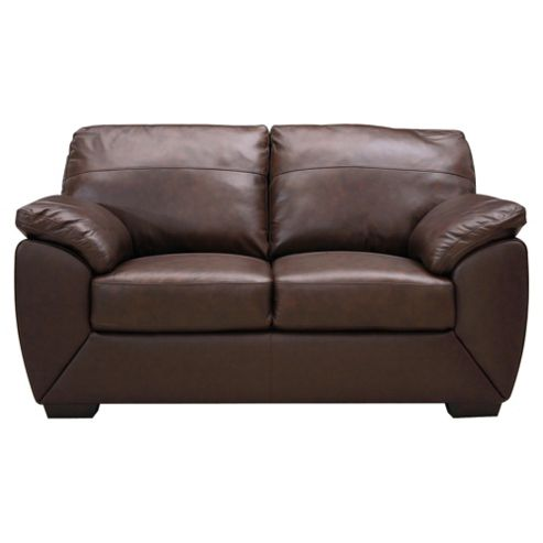 Alberta Small Leather Sofa, Chocolate