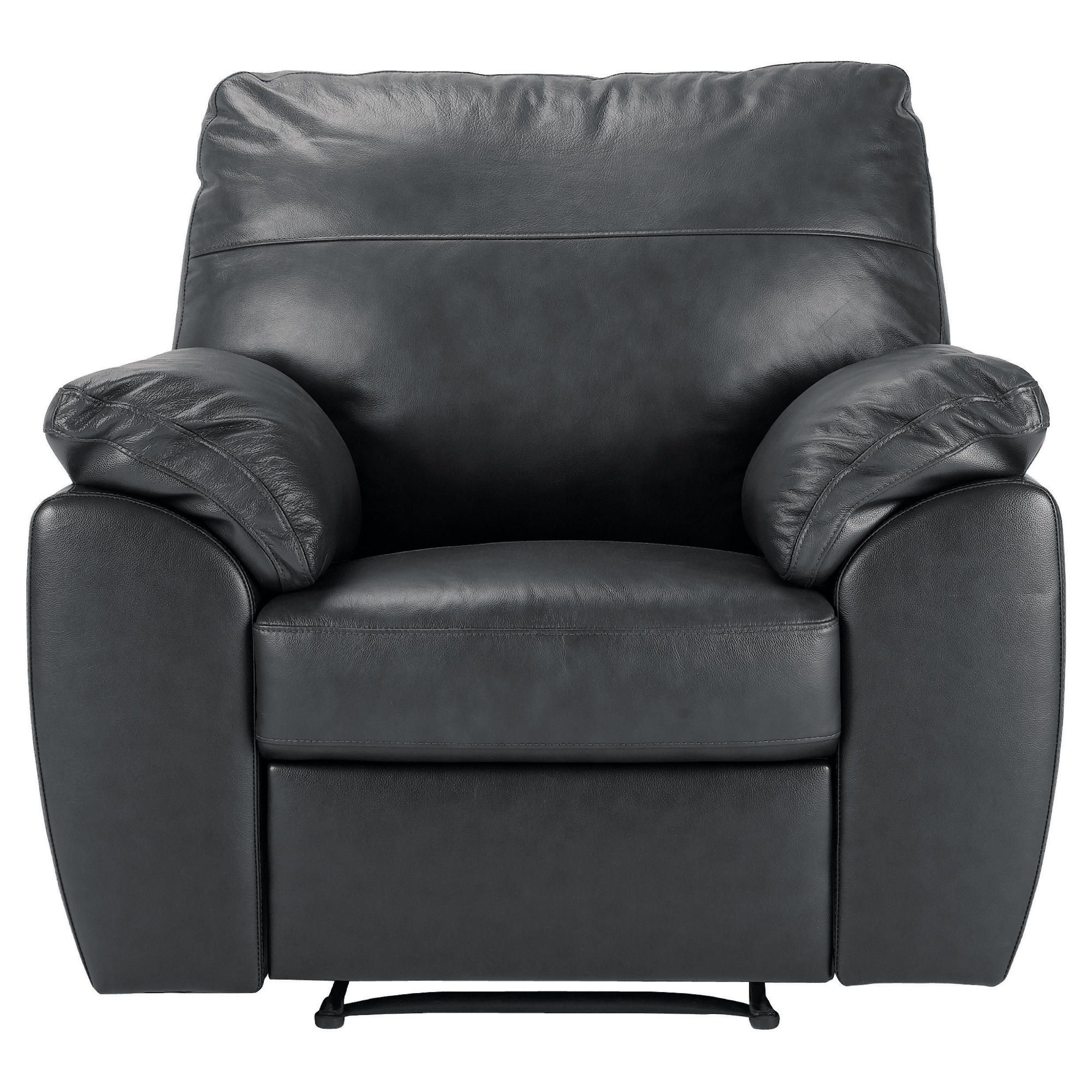Alberta Leather Recliner Armchair, Black at Tesco Direct