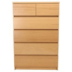 Maddox 6 Drawer Chest, Oak Veneer