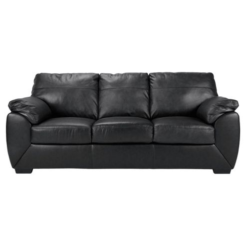 Alberta Leather Large 3 Seater Sofa, Black