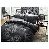 Tesco Damask Print King Size Duvet Set, Black