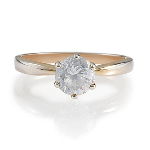 Gold Plated Silver Cubic Zirconia Solitaire Ring, L