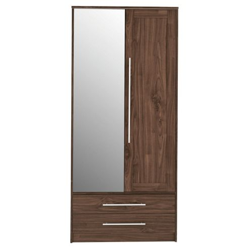 Kendal Double Wardrobe with Drawers, Walnut Effect