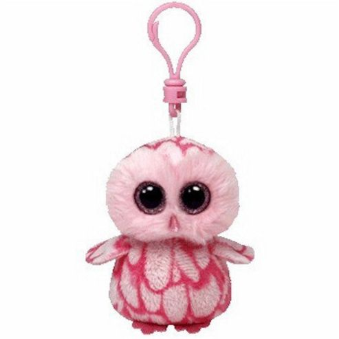 TY Beanie Boo Key Clip Pinky Pink Barn Owl